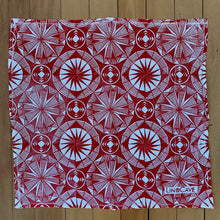 Load image into Gallery viewer, A hand block printed white flour sack towel with red in a geometric pattern.