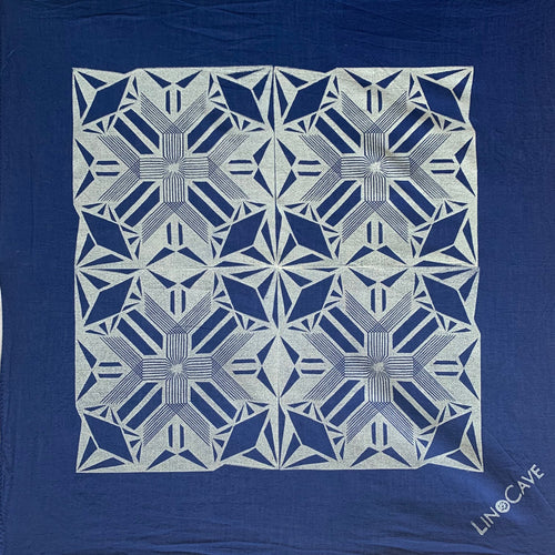 Ultra-Lightweight Blue and White Hand Block Printed Bandana