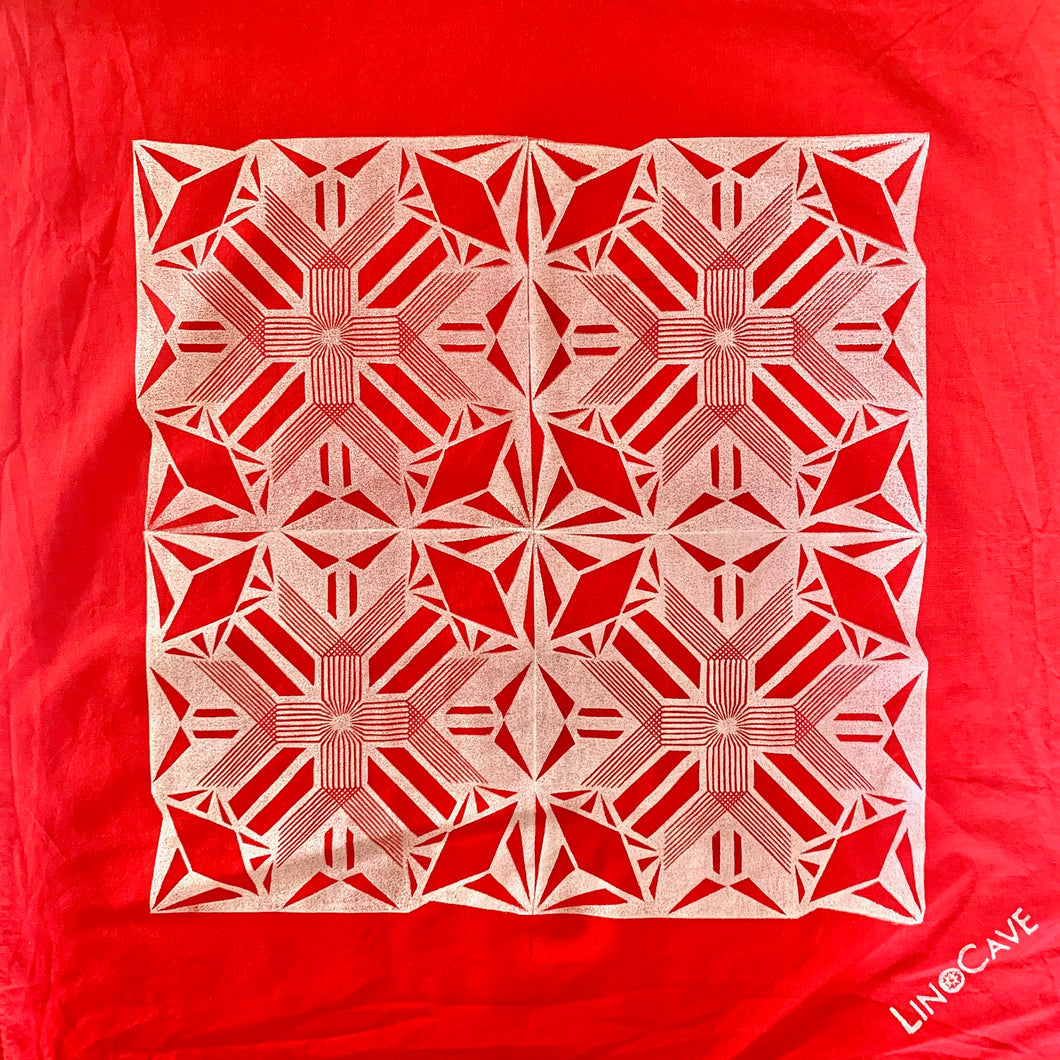 Ultra-Lightweight Red and White Hand Block Printed Bandana