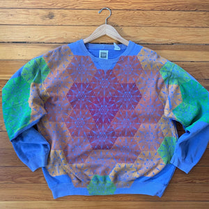 Hand Block Printed Upcycled Sweatshirt- Women's Large