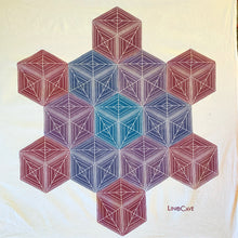 "Load image into Gallery viewer, A 28"" square flour sack cloth towel hand printed by Susana McDonnell of LinoCave in an ombre of colors ranging from turquoise to red in a geometric pattern of stacked cubes."
