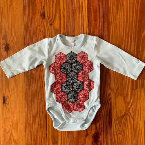 Hand Block Printed Upcycled Baby Onesie - 4-6 Months