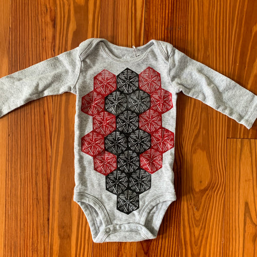 Hand Block Printed Upcycled Baby Onesie - 3-6 Months