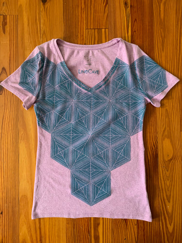 Hand Block Printed Upcycled Women's T-shirt - Medium