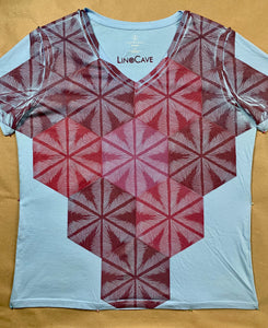 Hand Block Printed Upcycled T-shirt-Women's Small-Relaxed Fit