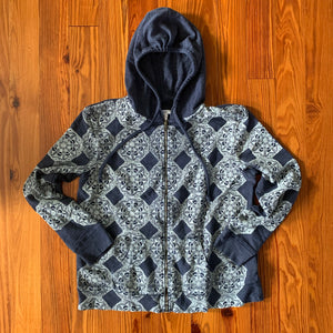 Hand Block Printed Upcycled Hoodie - Women's Large