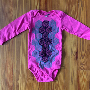Hand Block Printed Upcycled Baby Onesie - 24 Months