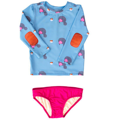 Girls under-the-sea print long-sleeve swim shirt set has UPF 50 sun protection and orange elbow pads.