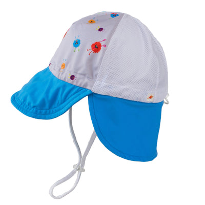 monster print trucker style neck flap sun hat for infants ages 0-3. UPF 50. Breathable, quick dry.
