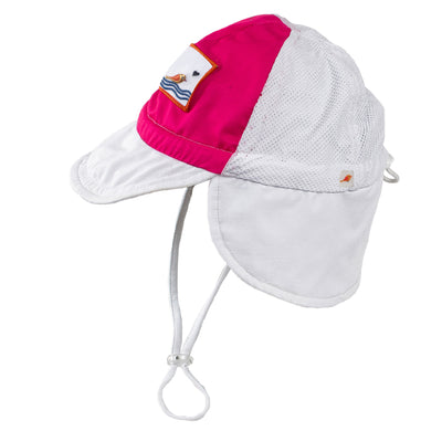 pink Sonsi trucker style neck flap sun hat for babies and infants ages 0-3. UPF 50, quick dry, breathable.