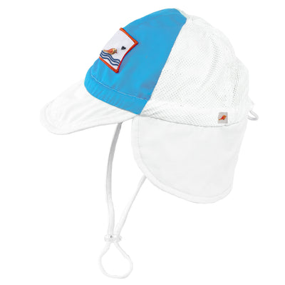 blue boys Sonsi trucker style neck flap sun hat for babies and infants ages 0-3. UPF 50, quick dry, breathable.