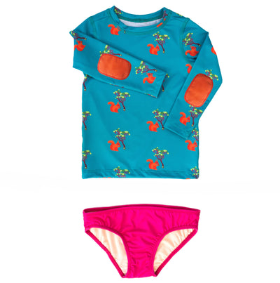 Girls squirrel long-sleeve swim shirt set has stylish orange elbow pads and UPF 50 sun protection
