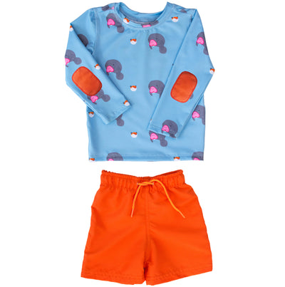Boys under-the-sea long-sleeve swim shirt set has UPF 50 sun protection and orange elbow pads.