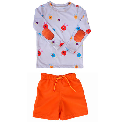 Boys monster print swim shirt set features wacky monsters, orange elbow pads, and UPF 50 sun protection