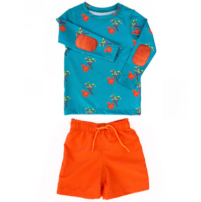 Boys squirrel long-sleeve swim shirt set has stylish orange elbow pads and UPF 50 sun protection