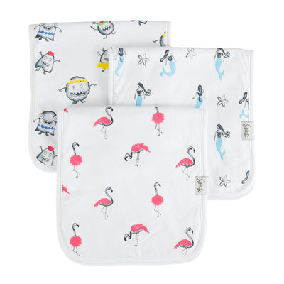 Girls color pop, absorbent burp cloths. Flamingoes, mermaids, silly monsters. Triple-layer cotton.