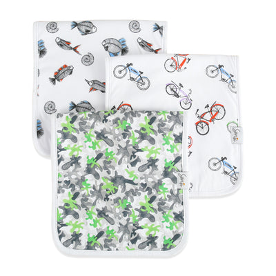 Boys absorbent outdoor theme burp cloths. Camo, bikes and silly monsters. Triple-layer cotton.