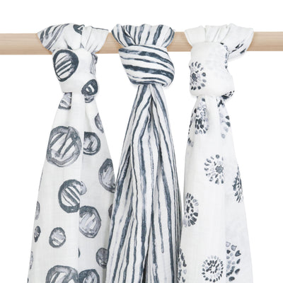 girls and boys breathable muslin cotton swaddle blankets. Modern black and white prints. Great gift.