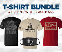 Load image into Gallery viewer, T-Shirt Bundle: 3 Shirts + Face Mask