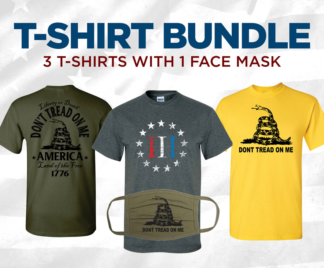 T-Shirt Bundle: 3 Shirts + Face Mask