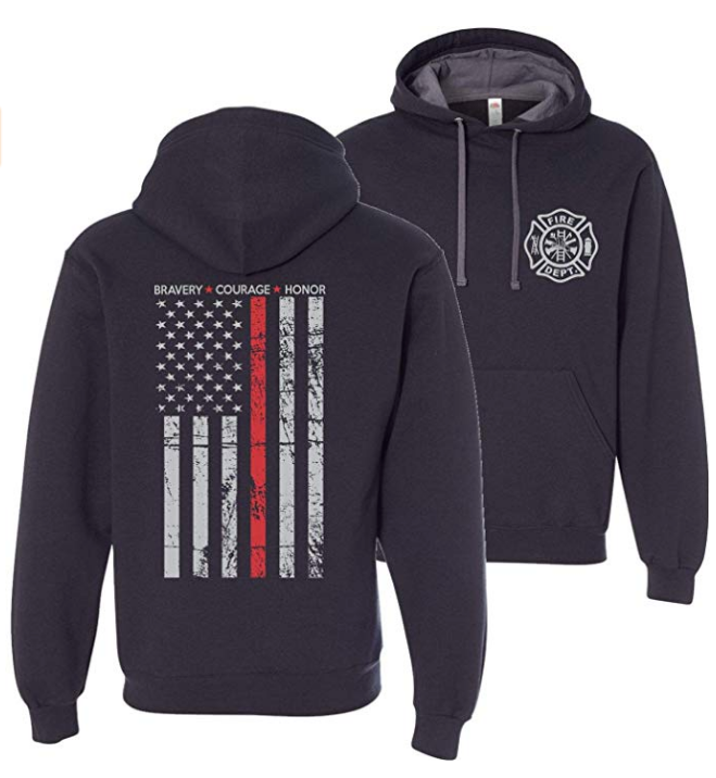 Hero Thin Red Line Firefighter Hooded Sweatshirt