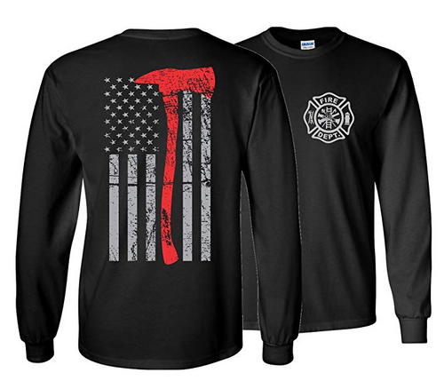 Thin Red Line Fire Firefighter Axe T-Shirt Axe Long Sleeve