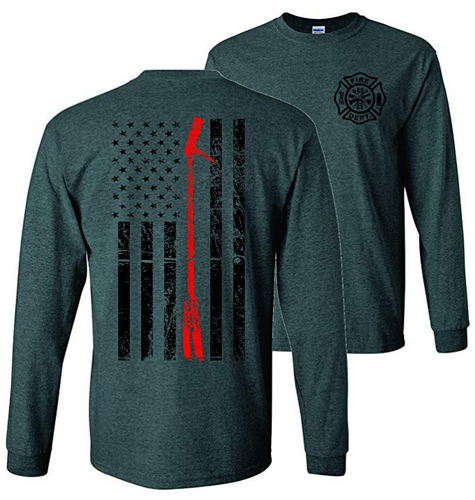 Thin Red Line Halligan Firefighter Long Sleeve T-Shirt