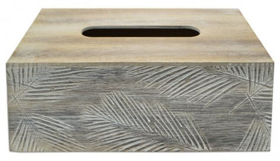 palm etched timber tissue box