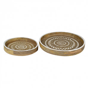 Carved Floral Trays- Set of 2