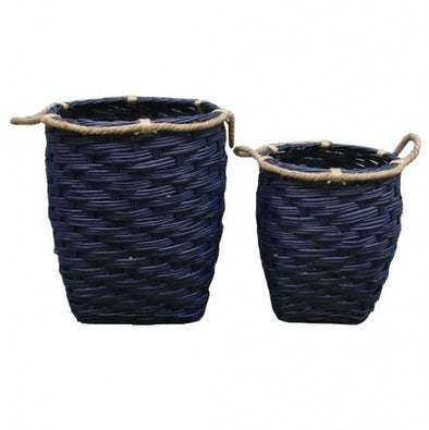 set of 2 navy willow baskets with rope detail and handle