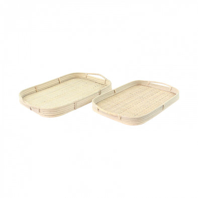 White Rattan Trays - Set of 2