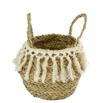 seagrass belly basket with tassles