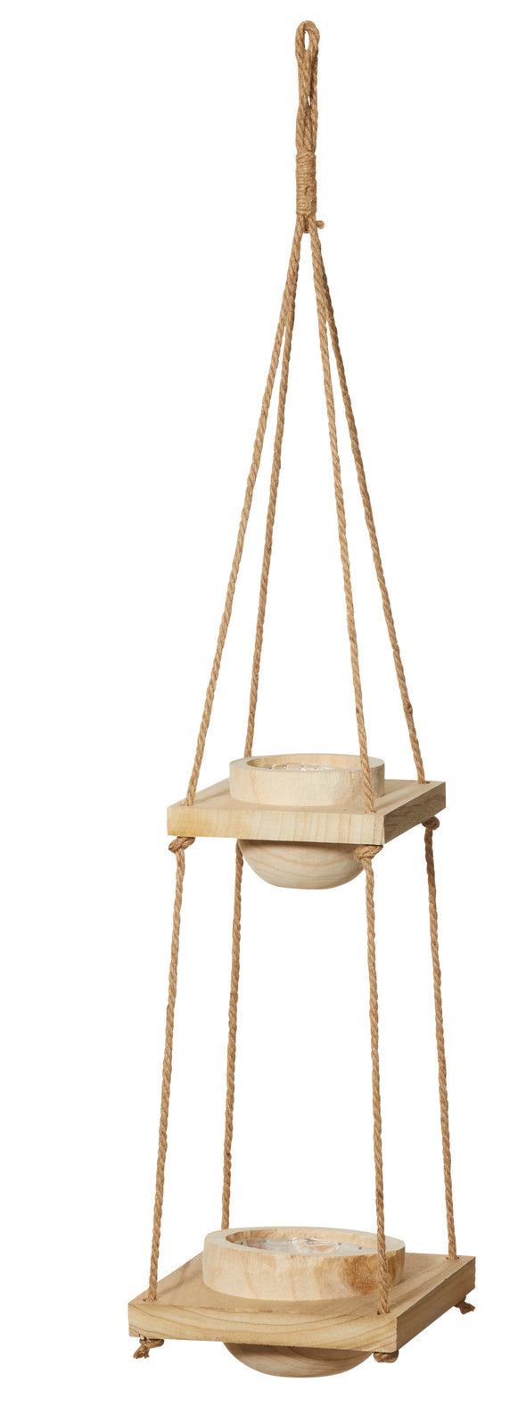 double timber hanging plant pot