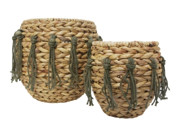 Seagrass Basket Set with Green Jute Tassel