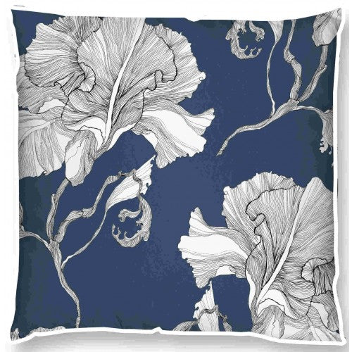 navy and white hamptons cushion