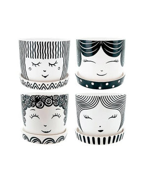 ceramic plant pot with ladies face