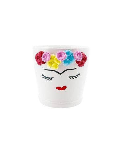 ceramic lady face flower crown plant pot
