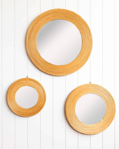 rattan mirror available in rouond and rectangle