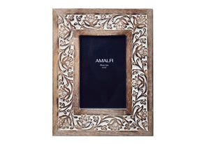 Anqul white-wash wood photo frame hand-carved