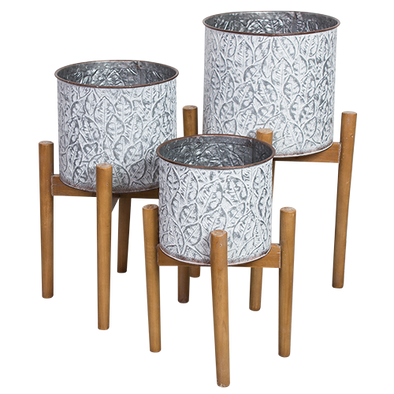 pressed metal plant pots on timber stand, set of 3
