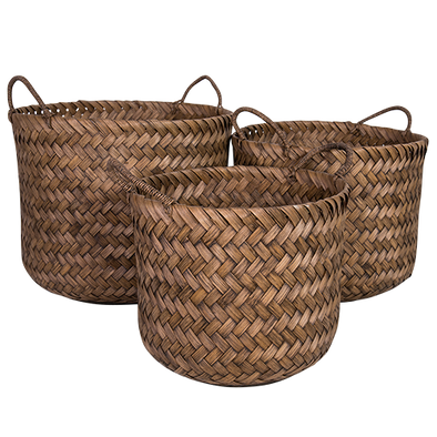 set of 3 cane baskets in dark toffee