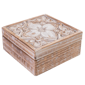carved white washed timer trinket box