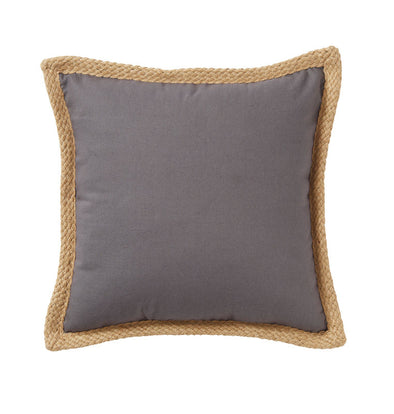 grey cotton cushion with jute braided egde.