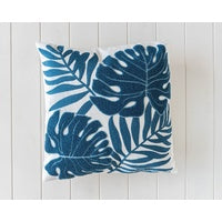 Embroidered Tropical Leaves Cushion