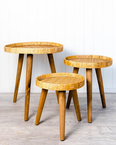 rattan side tables set of 3