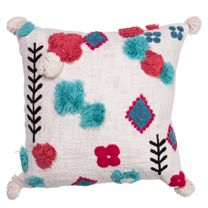 bright blue and pink textured and embroidered cushion on white background