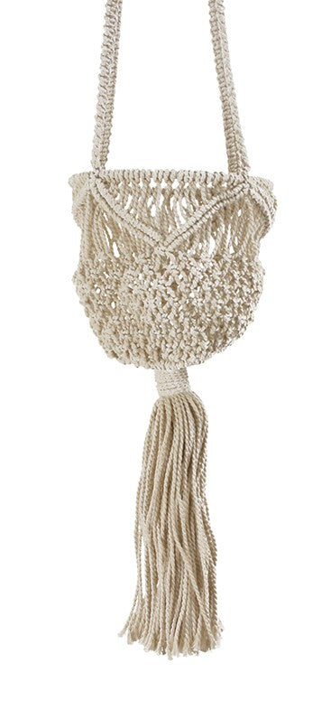 wave style jute hanging basket pot