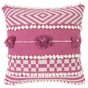 cotton embellished and embroiodered cushion in berry and taupe.