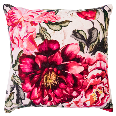 rose floral velvet cushion