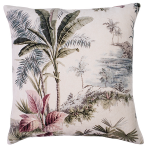 palm plantation velvet cushion